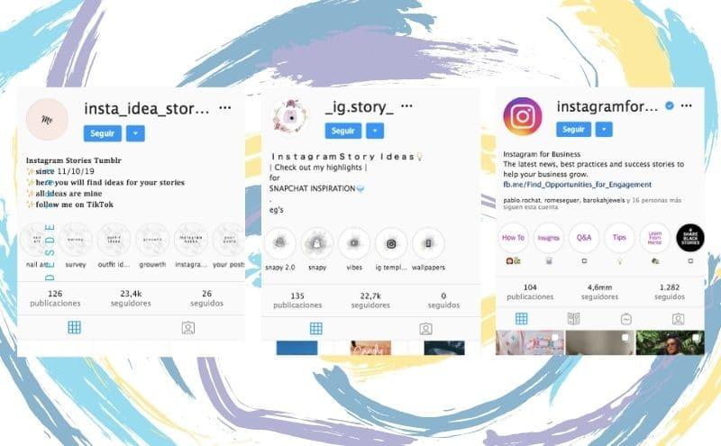 Ejemplos perfiles historias destacada
