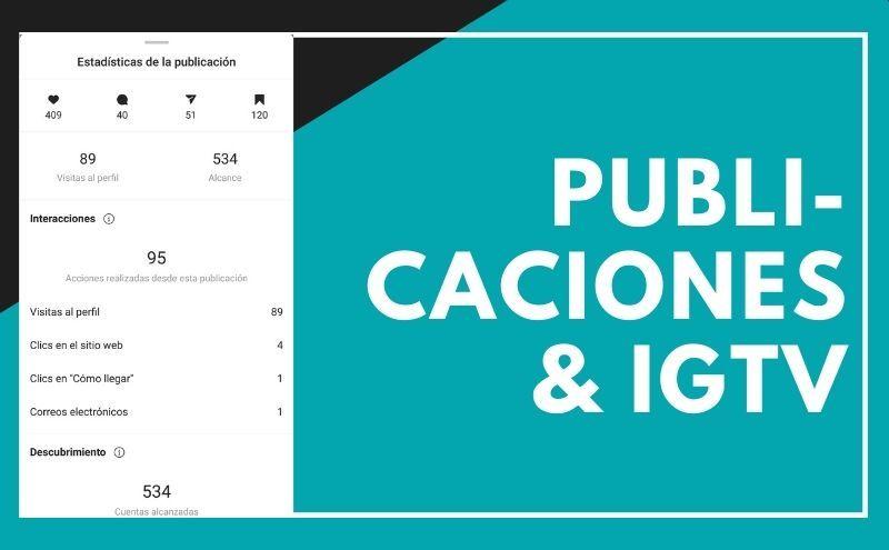 Estadísticas publicaciones e IGTV